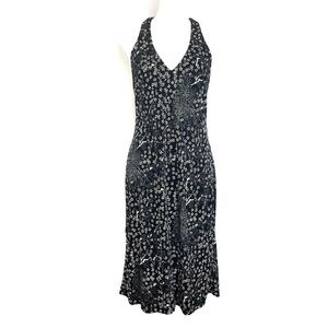 BCBG Halter Floral Dress Black White